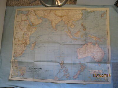 VINTAGE INDIAN OCEAN WALL MAP National Geographic March 1941 MINT