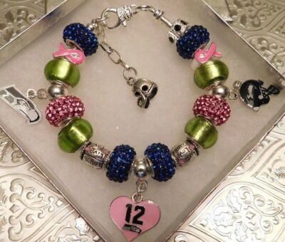 "NFL SEATTLE SEAHAWKS Crystal Bracelet 6.5-9"" Breast Cancer Awareness Limited Ed."