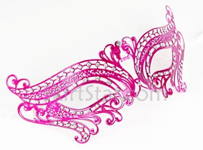 Laser Cut Venetian Mask Masquerade Hot Pink Costume Ball Crystal Butterfly Prom