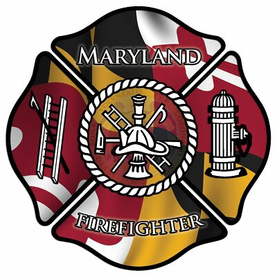 "Maryland Firefighter 4"" Decal/Sticker Maltese Cross State Flag"