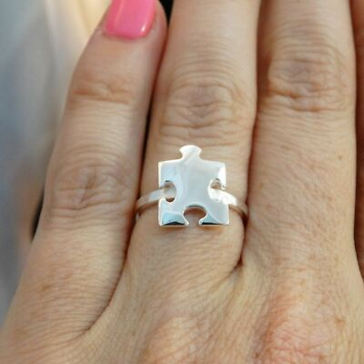 Puzzle Piece Ring - 925 Sterling Silver - Autism Awareness Puzzle Ring *NEW* Jig