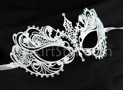 Laser Cut Venetian Mask White Masquerade Costume Ball Crystal Bride Wedding New
