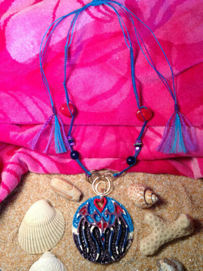 Pendant Necklace Handcrafted Ceramic & Macramé A Seabreeze Artist Original