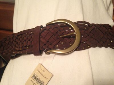 "Coldwater Creek Brown Suede Braided Nailhead Belt Size M - 40"" long"