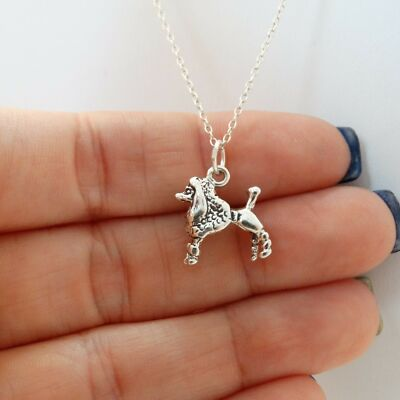 Poodle Necklace - 925 Sterling Silver - Dog Poodle Charm Puppy *NEW* Dog Show