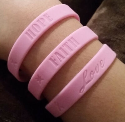 Hope † Love † Faith - Wristbands with Cancer Ribbon Symbols - 6 Colors to Choose