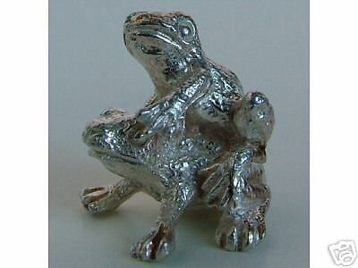 PRECIOUS MINIATURE SOLID STERLING SILVER FROGS FIGURINE