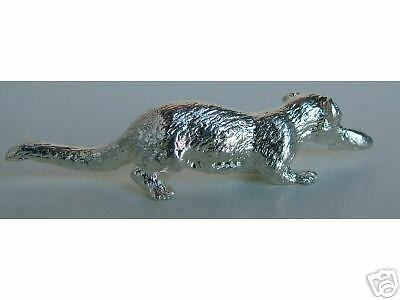 HAPPY MINIATURE STERLING SILVER OTTER FISH FIGURINE NEW