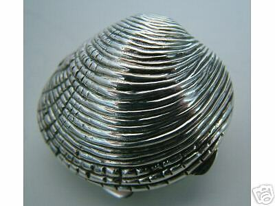 STERLING SILVER PILL BOX-DOUBLE THUMB PIECE COCKLESHELL