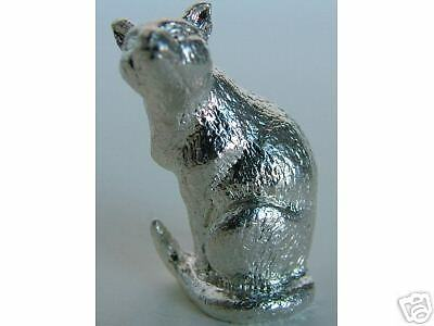 MINIATURE ENGLISH STERLING SILVER SIAMESE CAT FIGURINE
