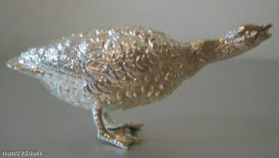 DELICATE MINIATURE STERLING SILVER GOOSE FIGURINE NEW