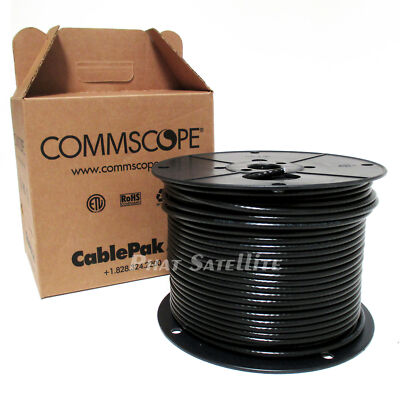 CommScope 500' RG6 500 ft Black Coax Cable Digital Satellite UL ETL RATED 18AWG