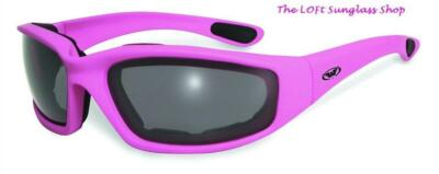 Fight Back Pink Motorcycle Glasses Maximum UV Protection Polycarbonate Lenses