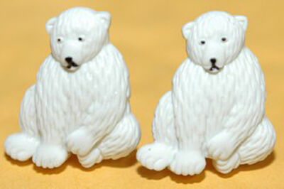 CUTE WHITE POLAR BEAR STUD or CLIP ON EARRINGS (S513)