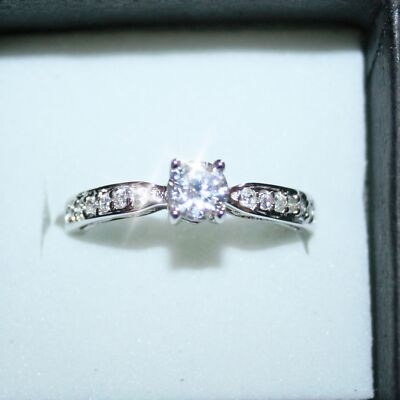 14k White Gold over 925SS Diamond Alternatives Solitaire Promise Engagement Ring