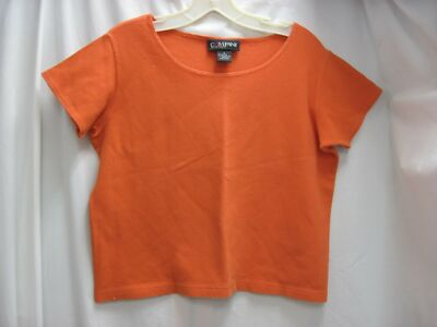 COMPANY ELLEN TRACY TANGERINE ORANGE PIQUE COTTON BOXY SHORT SLEEVE TOP X