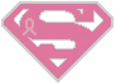 Cross Stitch PATTERN COLOR Super Girl Pink Ribbon Breast Cancer Hiv/Aids Heart