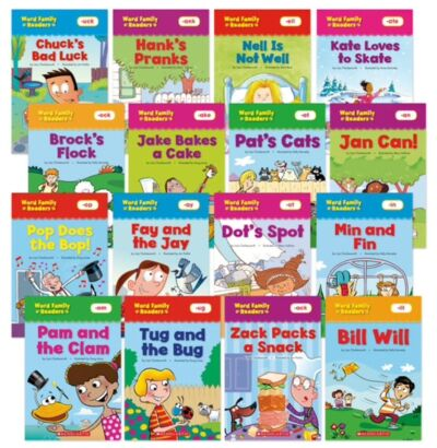 16 SCHOLASTIC WORD FAMLY READERS - Top 16 Word Families