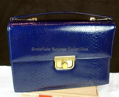 Gorgeous 60's Life Stride Navy Embossed Simulated Leather Handbag