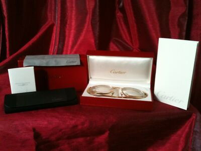 Cartier Eye Glasses Gold 18k Plated Square Sunglasses Retails $1890 Authentic
