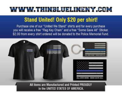 THIN BLUE LINE NY shirt (keychain,sticker FREE) $20 black SHORT SLEEVE