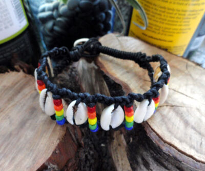 Gay Pride Cowry Shell Bracelet. Queer as Folk inspired. Gay Interest. LGBT