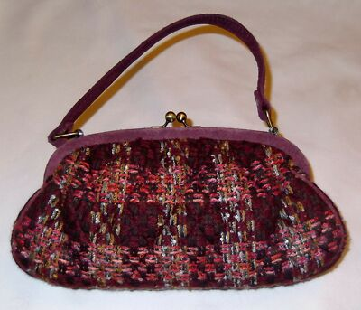 Vera Bradley Retired 2005 Limited Edition Tweed Kisslock Purse w/Suede Trim