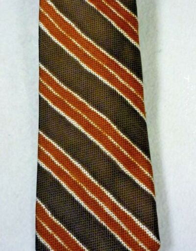 "VINTAGE WITH TAGS DAMON BROWN RUST STRIPED SILK TIE 3"" X 58"""