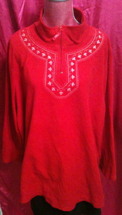 Fleece Zip Neck Pullover Red Nordic Embroidery Turtleneck Size 3x Plus Woman