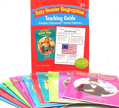 EASY READER SCHOLASTIC BIOGRAPHIES 12 pk + Teaching Guide,Washington,Lincoln NEW