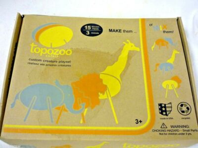 NEW TOPOZOO SAFARI  15 WOODEN PIECES 3 ANIMALS CUSTOM CREATURE PLAYSET