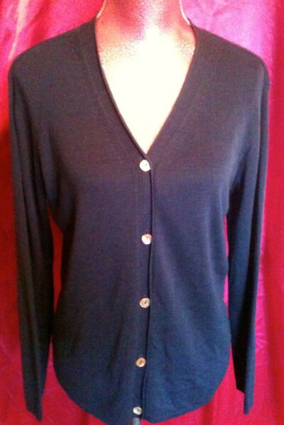 SAKS Fifth Avenue Sweater Silk Real Clothes Size Medium Inky Blue
