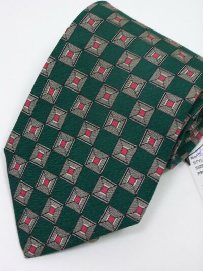 """Jos A. Banks""Premier Collection* Mens Neck tie In Hunter Green with pattern in"
