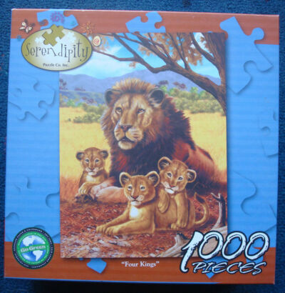 jigsaw puzzle 1000 pc Serendipity Four Kings Lion and cubs go green puzzle
