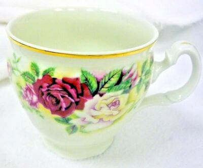 VICTORIAN ROSE BAUM BROTHERS TEA CUP CZECH REPUBLIC BOHEMIAN