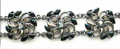 "CRYSTAL CREATIONS 7"" BLACK GEM 60 SMOKE CRYSTAL FLORAL SILVERTONE BRACELET NEW"