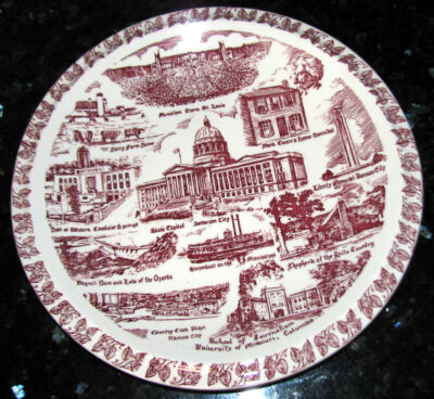MISSOURI Vintage 1940s Vernon Kilns Maroon Collector's Plate for A C McClurg