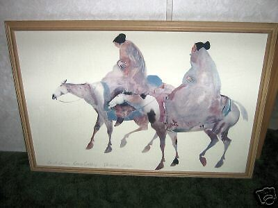 TWO CHEROKEE WOMEN RIDING HORSES THIS IS A REPRODUCTION RARE TO FINE !!!!
