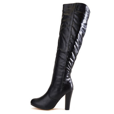 Shiekh Women's Apollo-6 Black knee-High Black Heeled Boots