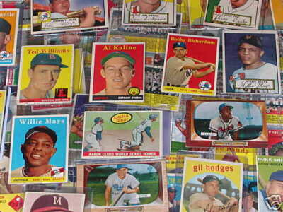 100 VINTAGE BASEBALL CARDS w/Mickey Mantle Items