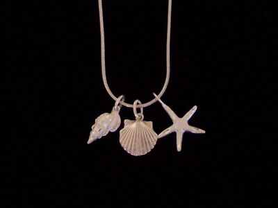 "New! .925 Sterling Silver Seashell Charm Necklace 20"" or 30"" Snake Chain"