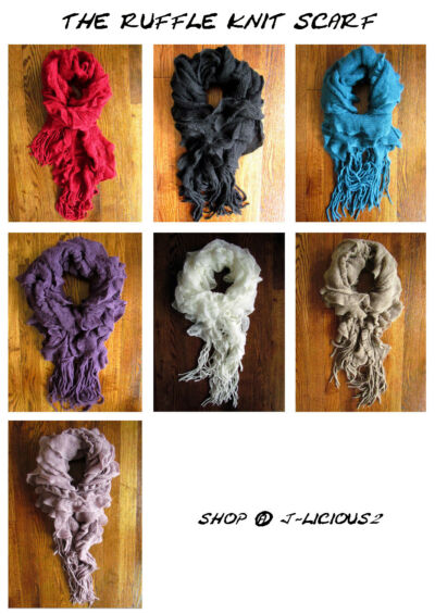 RUFFLE KNIT SCARF - Fall, Winter, Spring Fashion Scarf  - Cozy, warm, soft