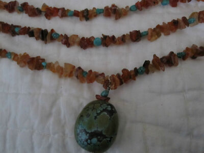 DESIGNER KENNETH LANE 3 STRAND TURQUOISE AND AMBER NECKLACE