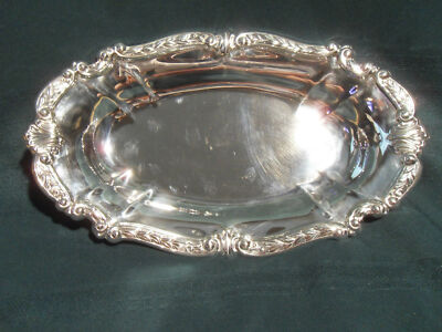 "Vintage Sheridan silverplated serving tray 13.5"" x 8"", EUC"