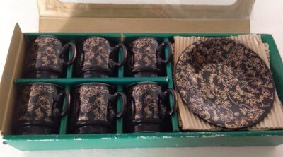 Vintage12pc tanaka coffee set Japan new in box black and gold
