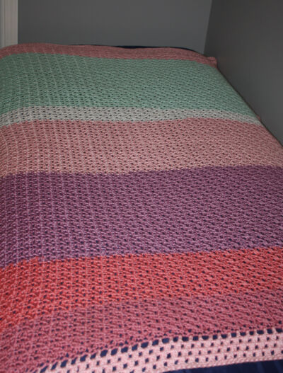 Handmade Crocheted Pink Purple Aqua Afghan Blanket 68 x 46""