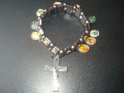 BEAUTIFUL HOLY SAINTS HEMATITE STREATCHABLE CHARMS  BRACELET(USA SELLER)