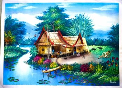 oil painting Thailand countryside oil painting on canvas by artist