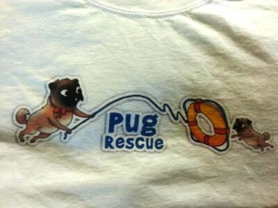 PUG RESCUE T-SHIRT ONE OF A KIND BY PUG RESCUE  (SIZES LISTED) NEW