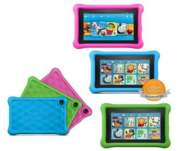 "New 2015 Amazon Fire Kids Edition 7"" 8GB Wi-Fi, Pink or Blue +2Yr WARRANTY"